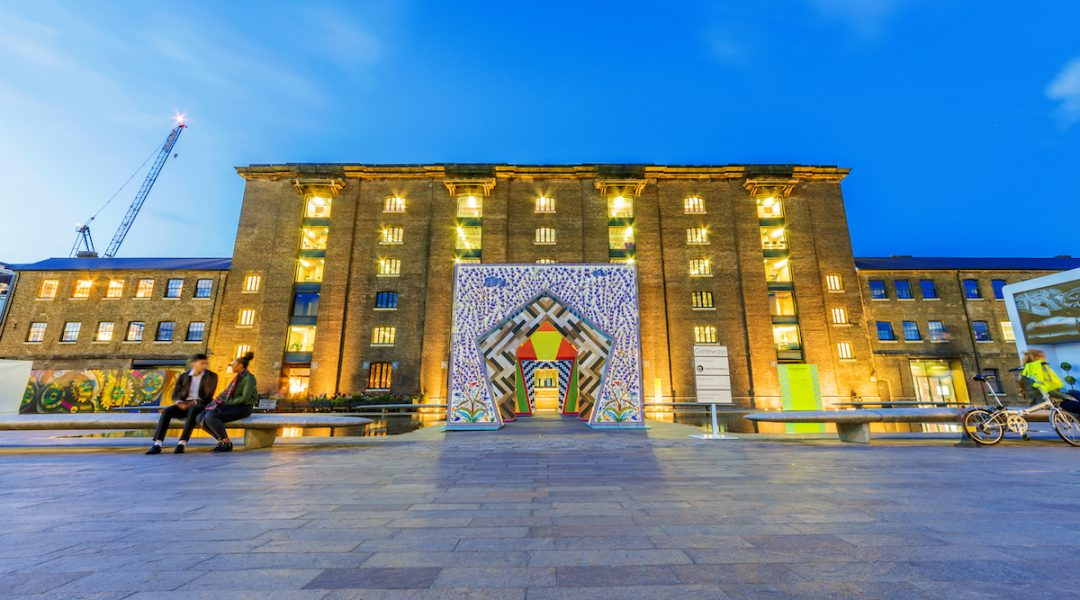 LONDON, UNITED KINGDOM - SEPTEMBER 23: This is a night view of Central Saint Martins university, a famous Arts university in the Kings Cross area on September 23, 2017 in London